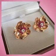 Fabulous 22mm 14K Rose Gold Natural Ruby & Diamond Floral Earrings 9.7 grams