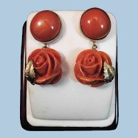 Majestic 14K Gold Momo Red Coral Cabochon & Carved Rose Drop Earrings 13.8 gr