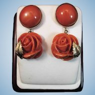 Majestic 14K Natural Momo Red Coral Cabochon & Carved Rose Drop Earrings 13.8 gr