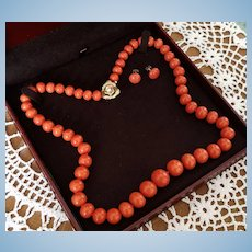 "Grand 14K Natural Sardinian Red Coral Bead 24.5"" Necklace & Button Earring Suite"