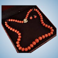 """Grand 14K Natural Sardinian Red Coral Bead 24.5"""" Necklace & Button Earring Suite"""