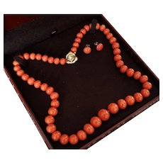 Grand 14K Sardinian Red Coral 9.5-16.5mm Bead Necklace & Earring Suite 124 grams