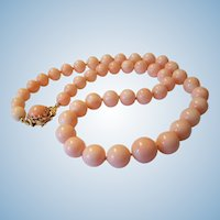 Mesmerizing 14K Gold Pink Blush Angel Skin Coral Bead Necklace 63.7 grams