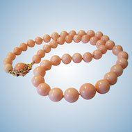 Mesmerizing 14K Gold Pink Blush Angel Skin Coral Bead Necklace 63.7 grams