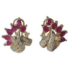 Glowing 20mm 14K Natural Ruby & Diamond Omega Clip Earrings - 7.5 grams