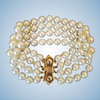 Elegant 14K Gold 4 Strand Akoya Cultured Pearl Bracelet - 38.1 grams