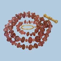 Gorgeous 18K Gold 210ct Natural Pink Tourmaline Bead Necklace - 52.1 grams