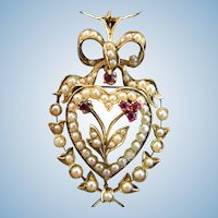English Romance 15ct Seed Pearl & Natural Ruby Heart Brooch Pendant