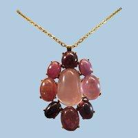 "Extraordinary 2-1/2"" 14k Gold Rose Quartz & Pink Tourmaline Pendant  37.5 grams"