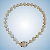 Spectacular 14K Pure White Coral Bead Necklace by Trianon for Seaman Schepps