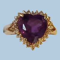 14K Gold Amethyst Brilliant Cut Heart & Diamond Halo Ring 7-1/4