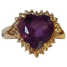 14K Gold Amethyst Brilliant Cut Heart & Diamond Halo Ring 7-1/4