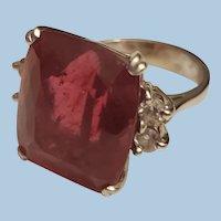 Exquisite 14K White Gold 17.43ct Natural Rubellite Tourmaline Diamond Ring