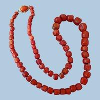 "Glorious 24"" Italian Deep Red Coral Barrel Bead Necklace 75.3 grams"