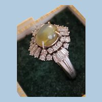 Superb Chrysoberyl Cat's Eye Cabochon & Diamond Platinum Ring Size 6