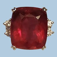 Extraordinary 14K White Gold 17.43ct Natural Rubellite Tourmaline Diamond Ring