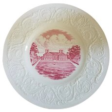 """12 Wedgwood Stratford Hall Pink Transfer Ware 9-1/4"""" Luncheon Plates"""