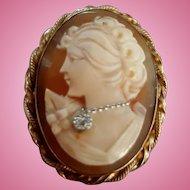 Vintage Beauty 12K Gold Fill Shell Cameo Diamond Habille Brooch Pendant