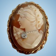 Vintage Beauty 12K Gold Fill Shell Cameo Diamond Habille Brooch Pendant