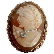 Vintage Beauty 12K Gold Fill Shell Cameo Diamond Habille Brooch Pendant - Red Tag Sale Item