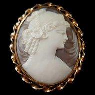 Ronci 12K GF Sardonyx Shell Cameo of Goddess Hera Juno Brooch Pendant