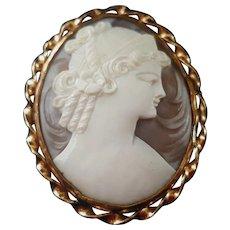 Ronci 12K Gold Fill Sardonyx Shell Cameo Goddess Hera Juno Brooch Pendant