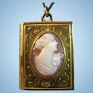 "1940's Book of Love 12K Gold Fill Shell Cameo Locket with 18"" Chain"