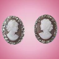 Mid Century Sardonyx Shell Cameo & Marcasite Earrings 800 Silver Clips