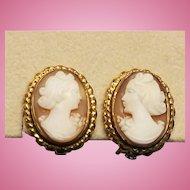 Flirty 40's Shell Cameo Non Pierced Earrings 12K Gold Fill Clips