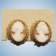Flirty 40's Shell Cameo Non Pierced Earrings 12K Gold Fill Clips