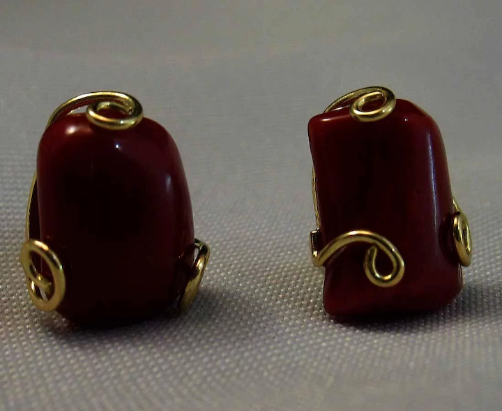 528e0109a 18K Corsican Oxblood Coral Free Form Cabochon Earrings : Cameo ...