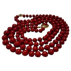 Divine 18K Double Strand Corsican Oxblood Red Coral Bead Necklace 78.8 grams