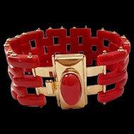 Fine Italian 18K Yellow Gold Sardinian Red Coral Gate Link Bracelet