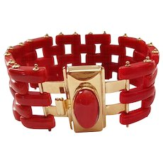 Fine Italian 18K Yellow Gold Sardinian Red Coral Gate Link Bracelet