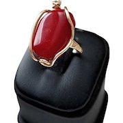 18K Dark Oxblood Red Coral Cabochon Ring - 5.8 grams
