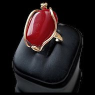18K Dark Oxblood Red Coral Cabochon Ring - 5.8 grams