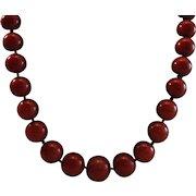 "Elegant 18K Sardinian Red Coral 5-9.8mm Bead Necklace - 21"""