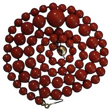 18K Gold Dark Sardinian Red Coral Bead Necklace 33.7 grams