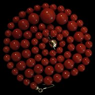 New Old Stock 18K Gold Red Coral 5.4-12mm Bead Necklace
