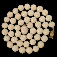 "19"" 18K White Coral 10mm Bead Necklace Original Box Italy"