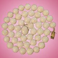 Italian 18K Gold White Coral 10mm Bead Necklace Original Box