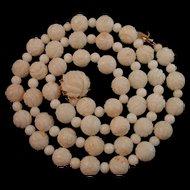 """Vintage 14K Gold Carved Roses Angelskin Coral Bead Necklace 24.5"""""""