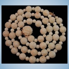 "24.5"" 14K Gold Carved Roses White Angel Skin Coral Bead Necklace 62 grams"