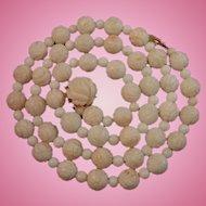 """Vintage 14K Gold Carved Roses Angel Skin Coral Bead Necklace 24.5"""""""