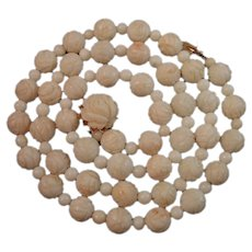 """24.5"""" 14K Gold Carved Roses White Angel Skin Coral Bead Necklace 62 grams"""