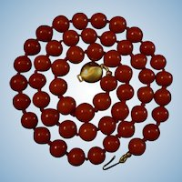 Bold & Beautiful Aka Oxblood Red Coral Bead Necklace 46.6 grams
