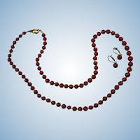 Magnificent 14K Gold Corsican Deep Oxblood Red Coral Bead Necklace & Earrings GIA Certified