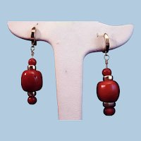 "Amazing 2"" 14K Gold Natural Oxblood Red Coral 14mm Bead Drop Earrings"