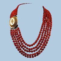 Antique Dutch Blood Red Coral Bead Necklace 14K Cannetille Clasp 106.7 gr