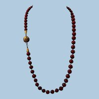 Magnificent 15ct Gold Corsican Oxblood Coral 7-8.6mm Bead Necklace - 41 gr